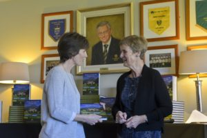 2) Sarah Slazenger – Managing Director of Powerscourt Estate is presented with copy of the 20th Anniversary Book by past Lady Captain Brenda Quinlan.
