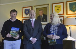 4) Fellow PGA Golf Professional Paul Thompson and Jacqui Farrell are presented with a copy of the Powerscourt Golf Club 20th Anniversary Book by Golf Club Manager Gavin Hunt. This is to celebrate their own 20 years at Powerscourt Golf Club, since its opening in 2006.